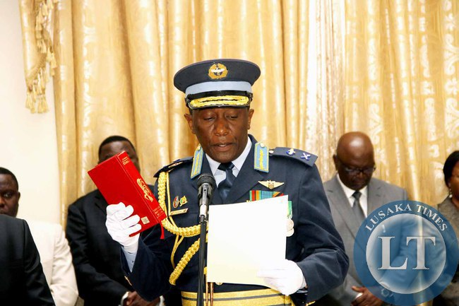 Deputy ZAF Commander Maj General Muma  during the swearing -in-Ceremony at State House on February  3,2015 -Picture by THOMAS NSAMA