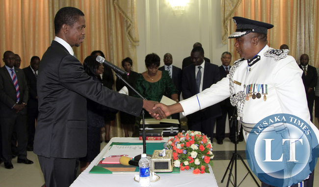 President Edgar Lungu during the Swearing in Ceremony of Mr Malcom Mutale Mulenga Deputy IG,  at Statehouse on Thursday  19-02-2015 PICTURE BY EDDIE MWANALEZA/STATEHOUSE.