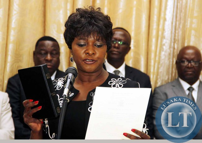 Commerce minister Margaret Mwanakatwe during the Swearing-In-Ceremony at State House on February 3,2015 -Picture by THOMAS NSAMA