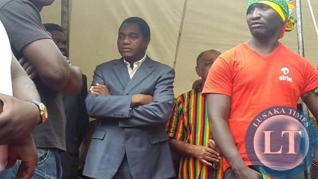 United Party for National Development (UPND) President Hakainde Hichilema at the funeral of slain UPND member Grayser Matapa