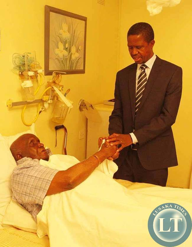 President Edgar Chagwa Lungu (right) prays for the First Republican president Dr. Kenneth Kaunda when he visited him at Lusaka Trust Hospital in Lusaka on Tuesday,February 3,2015. PICTURE BY SALIM HENRY/STATE HOUSE