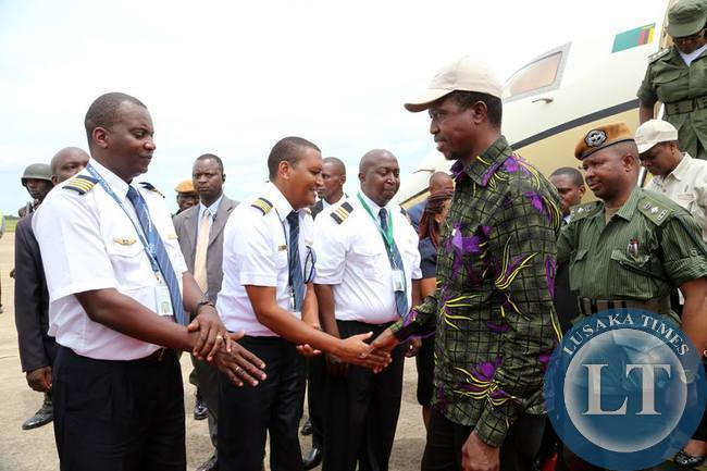 President Edgar Lungu  arrives in Lusaka