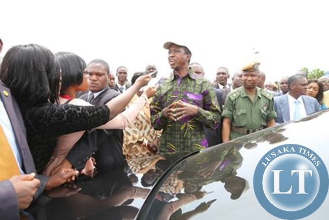 PRESIDENT Edgar Lungu speaks to journalists at Mfuwe International Airport shortly before returning to Lusaka after a 7 days working holiday in Mfuwe on February 11th,2015
