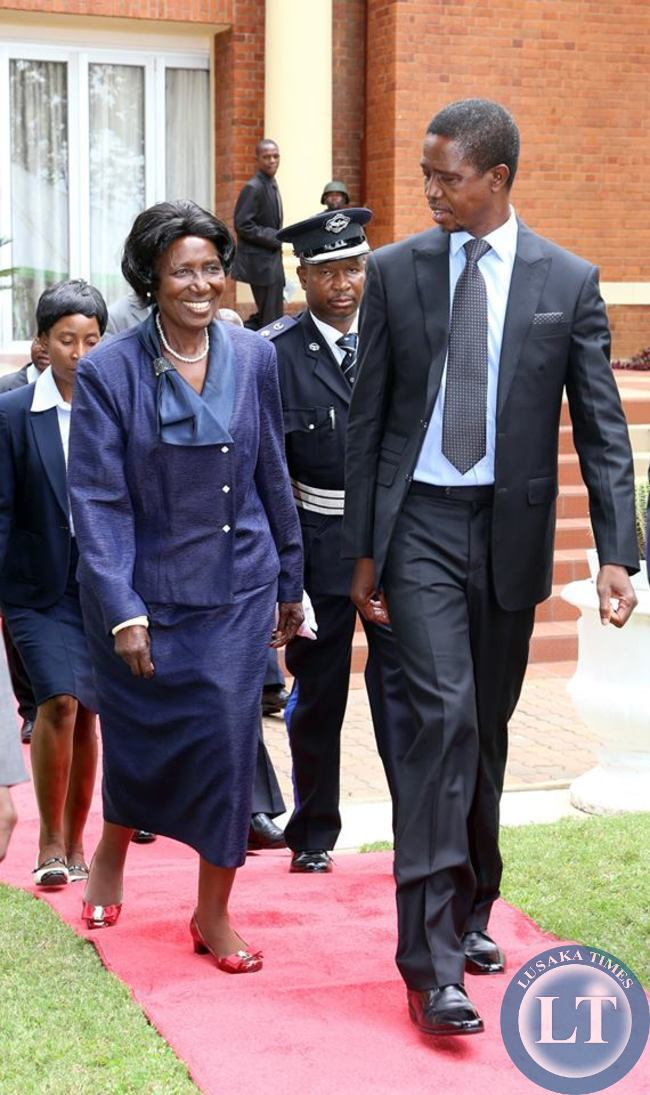 President Edgar Chagwa Lungu with Vice-President Inonge Wina  arrives at State House for the Annual greetings ceremony for members of the Diplomatic Corps on February 11,2015 -Picture by THOMAS NSAMA