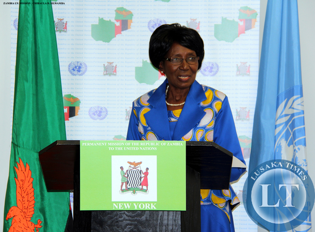 Vice-President Mrs Inonge Wina addresses Zambians resident in USA at Zambian Mission to the UN in New York on 11 March, 2015. PHOTO | CHIBAULA D. SILWAMBA | ZAMBIA UN MISSION