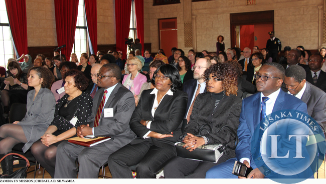 Audience attentively listens to Vice-President Inonge Wina lecture at Columbia University on 11 March, 2015. PHOTO | CHIBAULA D. SILWAMBA | ZAMBIA UN MISSION
