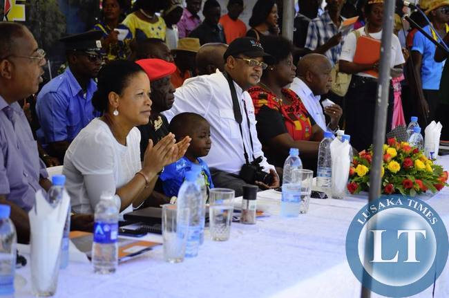 Dignitaries following proceedings at the prize presentation ceremony at the close of the street carnival at LICAF2015