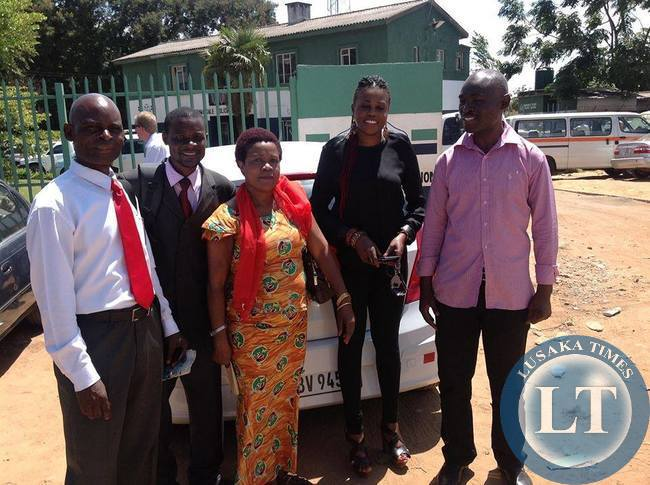 Emmanuel Chikelwa with sympathisers after leaving Lusaka   Central Police