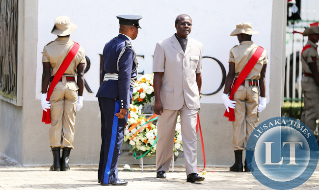 Acting President Ngosa Simbyakula officiates at Youth Day Celebrations at the Freedom Statue in Lusaka on March 12,2015PICTURE  BY EDDIE MWANALEZA/ STATEHOUSE.