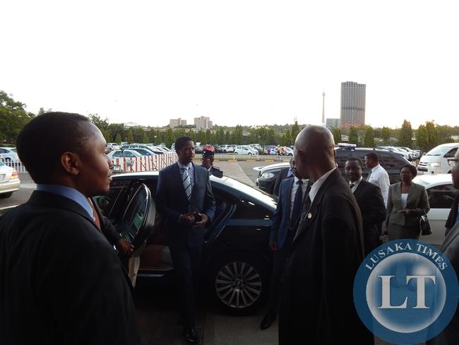 President Lungu arrives at Milpark Hospital in Johannesburg where he went to visit former member of Parliament, Mr. Willie Nsanda
