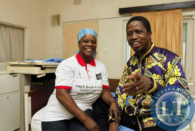 President Edgar Lungu and First Lady Esther Lungu at the VIP ward in Maina Soko hospital where the president was undergoing tests.Picture by State house