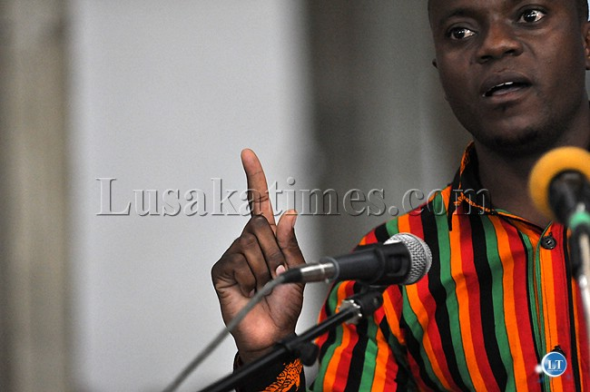 Forum for Democracy and Development spokesperson Antonio Mwanza stresses a point during the meeting to demand for the release of the draft Zambian constitution