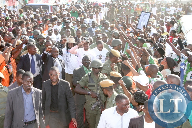 President Edgar Chagwa Lungu addresses a rally  to  drum up Support for  Chawama PF Parliamentary Candidate Lawrence Sichalwe on April 12,2015 -Picture by THOMAS NSAMA