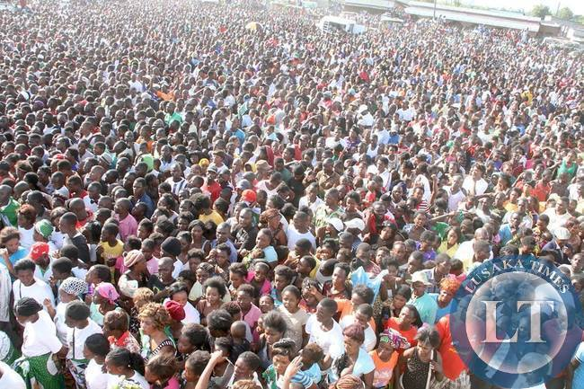 Part of the Crowd that attended a rally addressed by President Edgar Chagwa Lungu to drum up support for Chawama PF Parliamentary Candidate Lawrence Sichalwe on April 12,2015