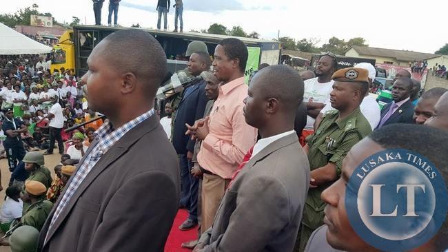 President Edgar Lungu addressing the Chawama rally