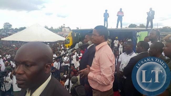 President Edgar Lungu at the Chawama rally
