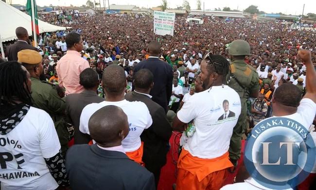President Edgar Lungu at Chwama Pf rally on Sunday 12-04-2014/ Pictures By Eddie Mwanaleza/statehouse.