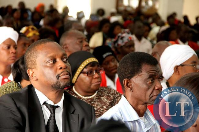 Bradford Machila  at  the funeral service of late Rev Violet Sampa- Bredt at St Pauls UCZ Church in Lusaka on April 10,2015 -Picture by THOMAS NSAMA