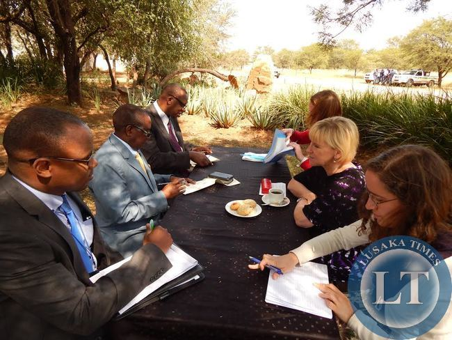 DEPUTY Foreign Affairs Minister, Mr. Rayford Mbulu (Centre) during a bilateral meeting with Swedish Foreign Minister, Ms. Margot Wallstrom at Legends Golf Safari Resort in Limpopo, South Africa on Friday, 10th April, 2015. With Mr. Mbulu are Assistant Director in charge of Development Cooperation at the Ministry of Foreign Affairs, Mr. Sylvester Mundanda, and First Secretary in charge of Economic and Trade at the Zambian High Commission in South Africa, Mr. Mande Kauseni (close to camera). The Swedish Minister was accompanied by her Political Advisor, Ms. Laila Naraghi and Deputy Head of the Africa Department in the Swedish Ministry of Foreign Affairs, Ms. Anna Craenen.