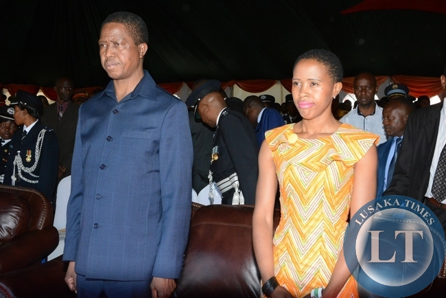 President Edgar Lungu and his daughter Tasila Lungu during the investiture ceremony at State House
