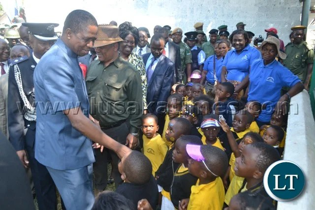 PRESIDENT Edgar Lungu takes time to greet school children at the Copperbelt Mining, Agriculture and Commercial Show in Kitwe.