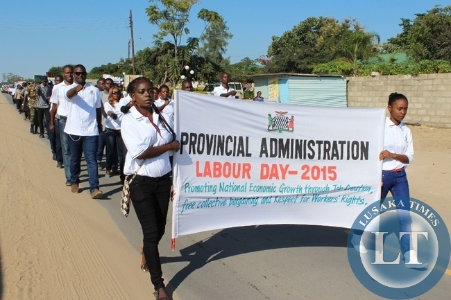 Labour Day Celebrations march past in Mongu on Friday.