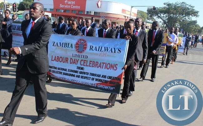 Zambia Railways Workers and other marchers marching to Godfrey Chitalu Stadium during this year's Labour day in Kabwe