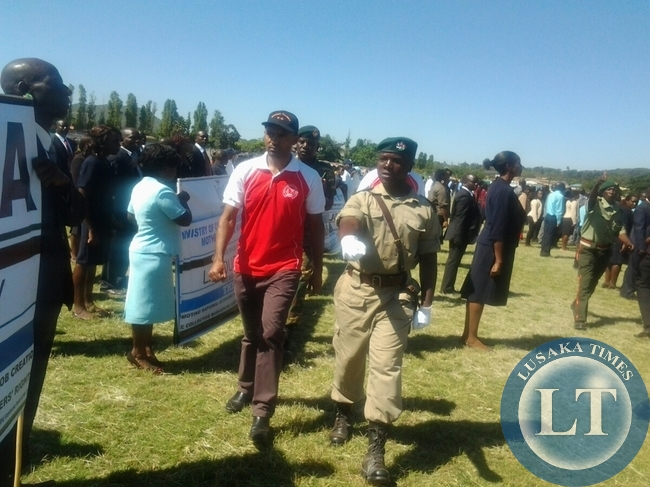 Youth and Sports Minister Vincent Mwale during the labour day celebration held at David Kaunda stadium in Chipata