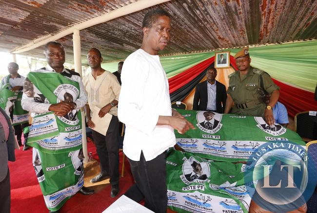 President Edgar Lungu with Ricahrd Kapita at a Rally at Mwinilunga Boma grounds