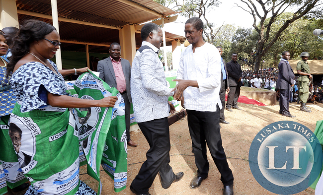 President Lungu  with Richard Kapita In Mwinilunga