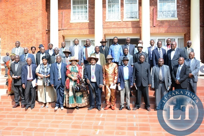 President Edgar Lungu (in light blue shirt centre) pose for a photography with Southern Province Chiefs at State House