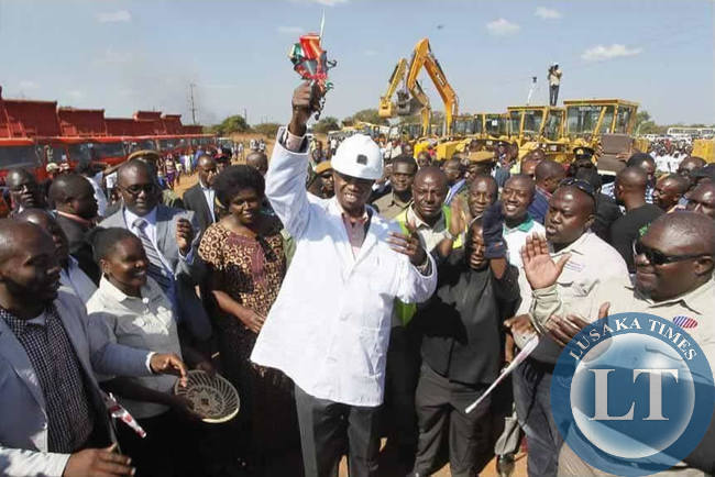 President Lungu commissions the Solwezi-Chingola road at St Dorothy in Solwezi on Thursday 4th June.Picture by Henry Salim