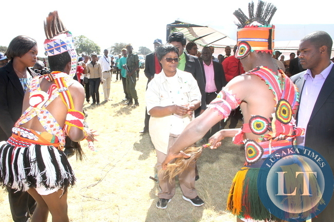 First Lady Esther Lungubeing entertained by Zambia Army Dance group during the Commemoration of the International VCT Day in Lusaka on June 30,2015 -Picture by THOMAS NSAMA