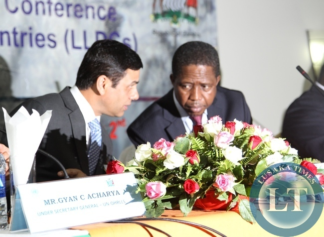 President Edgar Lungu shares a light moment with Secretary General of UNCTAD during the High level meeting on the follow up to the second United Nations conference on Landlocked deveoping countries in Livingstone. On the left isUnited Nations Under Secretary General and High Representative of UN-OHRLLS Gyan Chandra Acharya and on the right is Minister of Transport Works Supply and Communications Hon Yamfwa Mukanga.