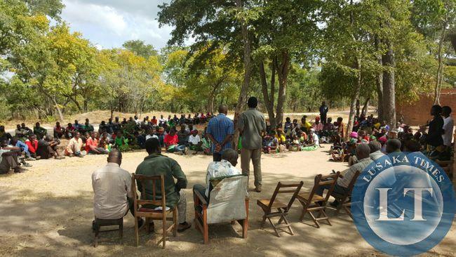 UPND president Hakainde HIchilema addresses residents in Malambo