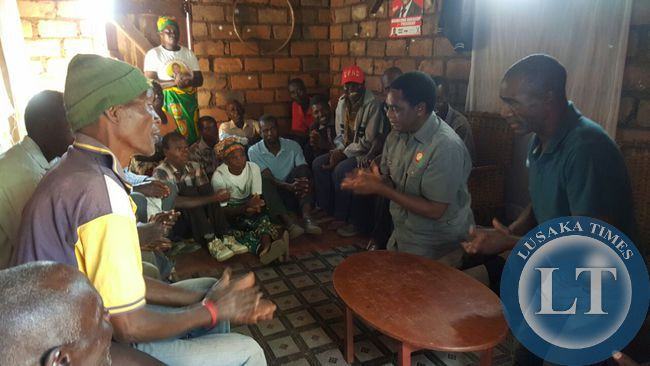 UPND president Hakainde HIchilema in Malambo