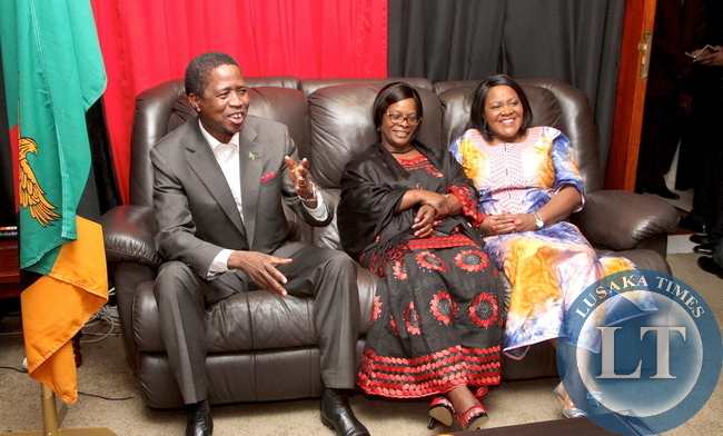President Edgar Lungu with First Lady Esther Lungu and the Spouse of the outgoing Zambia's High Commissioner to South Africa Musonda Chikonde on arrival at the High commissioner's residence where the Head of State addressed Zambian based in South Africa on June 13,2015 -Picture by THOMAS NSAMA