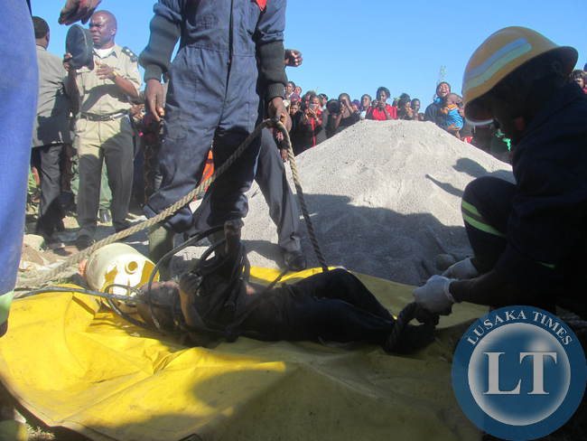 The body of Ben Muleba retrieved from the well by KCM rescue team.
