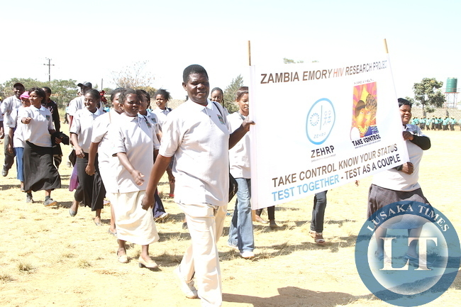 First Lad Esther Lungu marching during Commemoration of the International VCT day in Lusaka on June 30,2015 -Picture by THOMAS NSAMA
