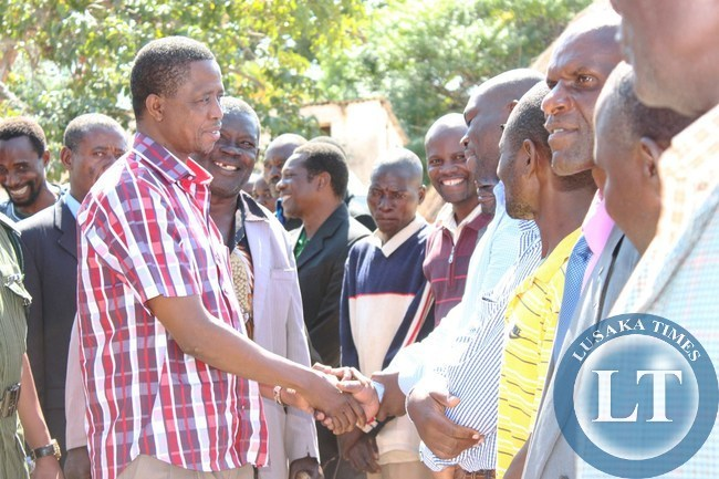 PRESIDENT Edgar Lungu, greets Headmen at Senior Chief Kalindawalo's palace when he paid a courtesy call on the senior chief in Petauke