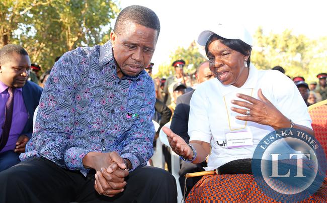 President Lungu talks to Chieftainess Mukamambo Nkomesha in misolo village