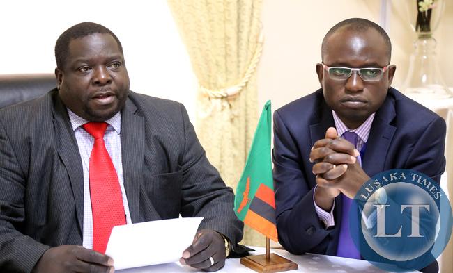 Chishimba Kambwili with Amos Chanda at Statehouse