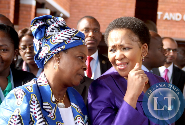 First Lady Esther Lungu  South Africa's First Lady Tobeka Zuma after  tour of Aga Khan University Hospital in Nairobi, Kenya on July 20,2015 -Picture by THOMAS NSAMA