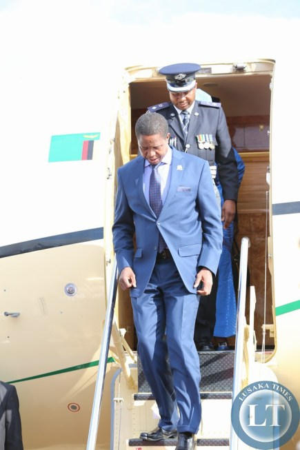 President Lungu arrives from Malawi