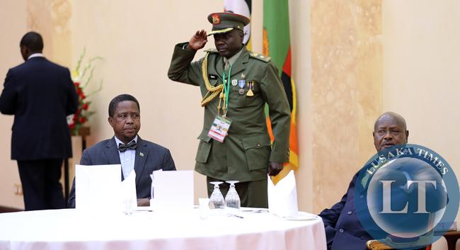 President Edgar Lungu with President Yoweri Museveni  at State Banquet