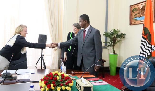 President Lungu meets Ms Hellen Clarks UNDP Adminstrator at Statehouse