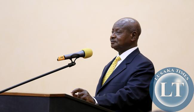 President Yoweri Museveni at Peach at State Banquet at Entebbe