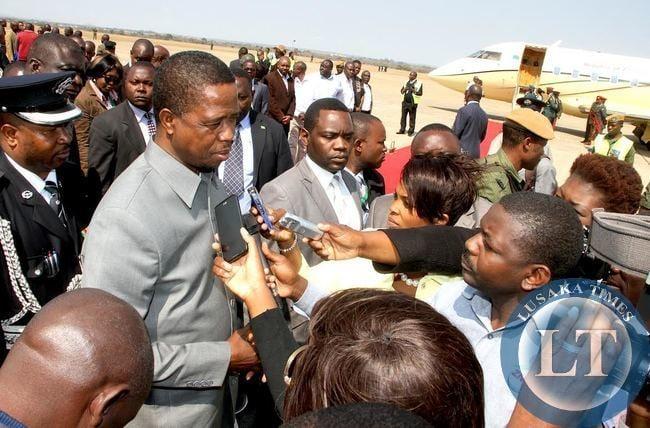 President Lungu Speaking to Journalist