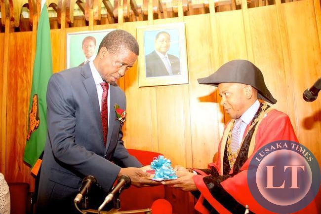 President Edgar Lungu receives a Key of Freedom from Mayor of Blantyre Noel Chalamanda at Civic Centre where he was granted the freedom of the City Status  in Malawi on july 6,2015 -Picture by THOMAS NSAMA