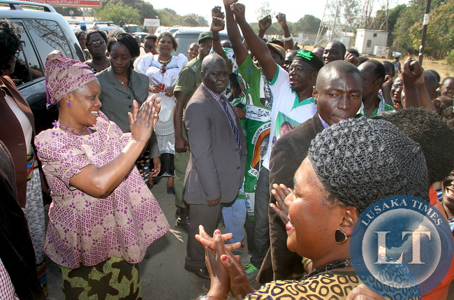 First Lady Esther Lungu  welcomed on arrival  in Limulungu District  where she paid a courtesy call on the Litunga at Limulunga Palace  on August 12,2015. The First Lady is in Western Province on the outreach Programme for People with Special needs -Picture by THOMAS NSAMA/STATEHOUSE